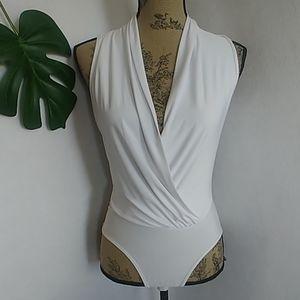 Body Central White Wrap Style Bodysuit